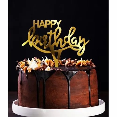 Acrylic Gold Mirror Happy Birthday Cake Topper Rs 20 Piece Shbn Enterprise Id 22414258712