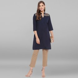 Janasya Women's Navy Blue Cotton Flex Kurti (JNE3538)