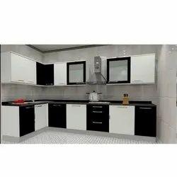 Modern Wooden SS L Shape Modular Kitchen