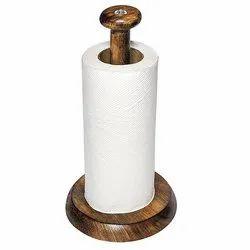 Sharma Handicrafts Brown Wooden Tissue Roll Holder