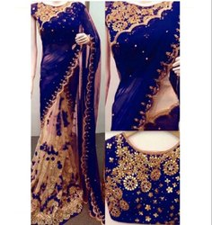 Blue & Golden Net Georgette Designer Saree