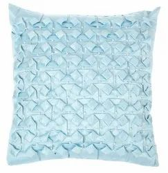 Designer Handmade Iced Blue Square Satin Cushion Cover
