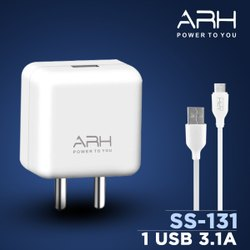 Travel White ARH FAST Charger, Cable Size: 1M