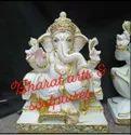 15 Inch Marble Sitting Ganesh Statue