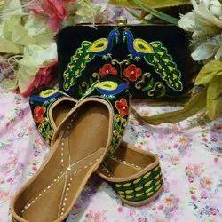 Black Color Punjabi Jutti With Peacock Design.