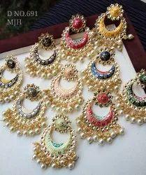 Jhumkis Brass Meenakari Pearl Bali Earing D No 691