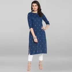 Janasya Women''s Blue Cotton Flex Kurta(JNE3546)