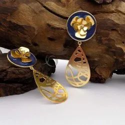 Gold Plated With Gemstone Flower Design Earring Drop Earring