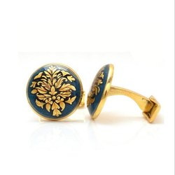 Hand Painted Golden Motif On Metalic Blue Enamel Cufflinks
