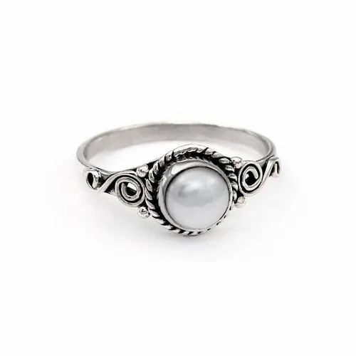 Pearl Ring Hand-Hammered Sterling Silver /& Oxidized Silver Size 9.25
