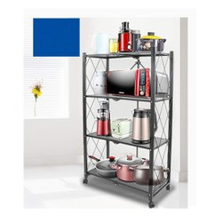 Rectangular 126 Cm 4-Shelf Metal Adjustable And Foldable Storage Shelving Unit, 126 x 73 x 35 Cm