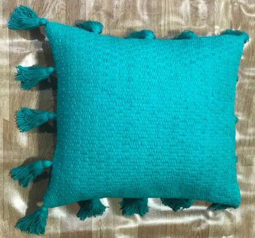 Plain Spring Tassel Blue Cushion