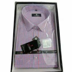 Yesman Collar Neck Men Office Cotton Check Shirt
