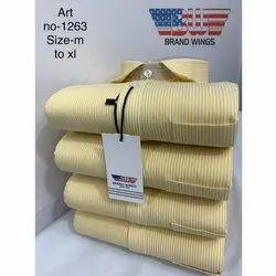 Cotton Collar Neck 1263 Mens Striped Formal Shirt, Machine Wash