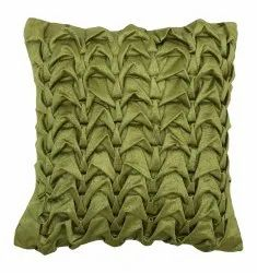 Bright Green Square Handmade Cushion Cover