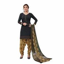 Aaradhya Cotton Ladies Black Patiala Unstitched Suit, Machine wash