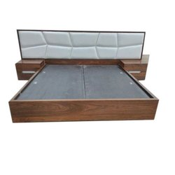 Oak Wood Brown Designer Wooden Double Bed