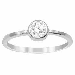 Dainty 925 Sterling Silver White Zirconia 0.50 Ctw Gemstone Solitaire Stack Ring