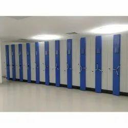 White Steel Mobile File Storage Racks