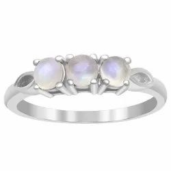 Three Stone 0.75 Ct Rainbow Moonstone 925 Sterling Silver Women Stackable Ring