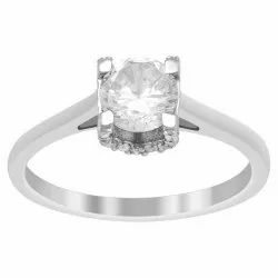 925 Sterling Silver 0.75 Ctw White Cubic Zircon Solitaire Women Stack Ring