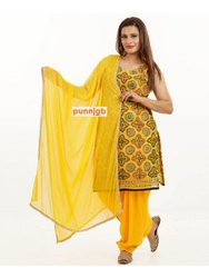 Stitched Yellow Exclusive Punjabi Suit, Handwash