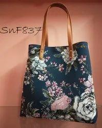 Multicolor Cotton & Rayon Fabric Tote Bag