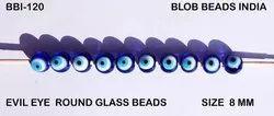 蓝色印刷邪恶的眼睛圆形玻璃珠,用于珠宝制作,尺寸:8毫米