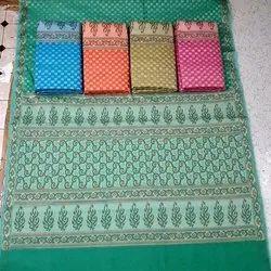 Casual Wear Printed Green Chanderi Cotton Resham Saree, 6.4 Meter