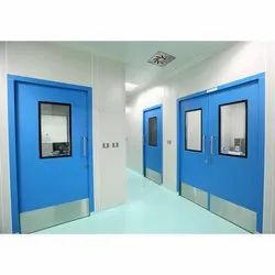 Blue Colour Coated Metallic Doors, For Office,Hospital, Thickness: 46 Mm