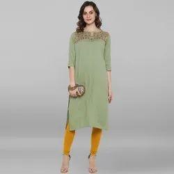 Janasya Women's Light Green Rayon Flex Kurta (J0070)