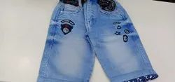 Denim Embroidery Boys Faded Short Jeans, Machine wash
