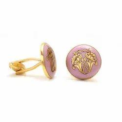 Hand Painted Golden Flower Motif On Pink Enamel In Sterling Silver