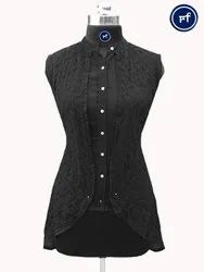 Poly Georgette Party Wear Black Sleeveless Chikankari Lucknowi Shrug Style Short Top, Wash Care: Machine wash