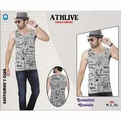 Athlive Sleeveless RR J401 Grey Mens Printed Vest, Size: L