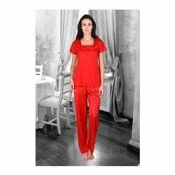 Full Length Half Sleeve Ladies Satin Night Dress, Free Size