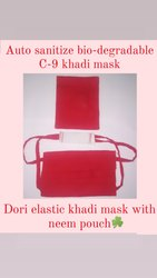 Organika 2 Layers C-9 Dori Elastic Khadi Mask With Neem Pouch