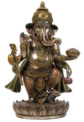 Nirmala Handicrafts Copper Finish Polyresin Standing Mouse Ganesha Statue Hindu God Idol Figurine