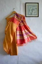 Bhagalpuri Handloom Cotton-Silk Saree, 6.5 m (with running piece), Hand Made