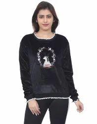 Round Neck Full Sleeves Women Printed Black Woollen Sweater