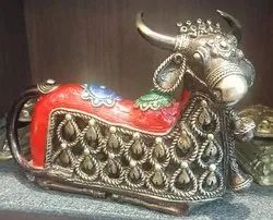 Painting Golden Nandi Brass Statue, For Decoration, Size/Dimension: 7x9x2