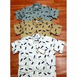 Mens Party Wear Printed Cotton Shirt, Size: M-XL