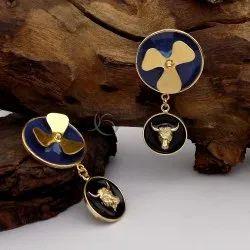 Gold Plated Flower And Medusa Design Earring