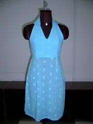 Plain Blue ladies one piece dress