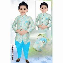 Printed Kids Blue Wedding Wear Sherwani
