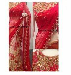 Red & Golden Net Georgette Designer Saree