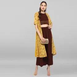 Janasya Women''''s Yellow Poly Crepe Top With Palazzo And Jacket(SET107)