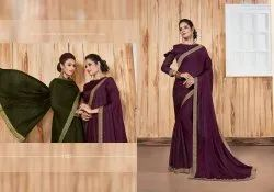 Party Wear Designer Georgette Satin Patti  Saree