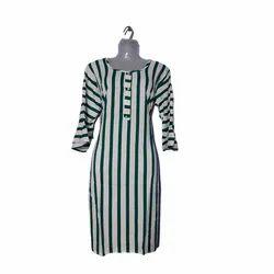 Bell Sleeves Lining Casual Wear Ladies Cotton Kurti, Wash Care: Handwash