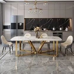 Gaur Steels Gold or Rose gold SS Dining Table, For Home, Size: Customizable